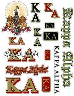 Kappa Alpha Multi Greek Decal Sticker Sheet