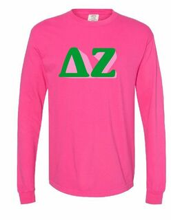 Comfort Colors Sorority 3D Greek Letters Long Sleeve Shirt
