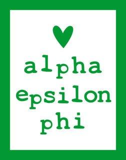 Alpha Epsilon Phi Simple Heart Sticker