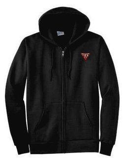 DISCOUNT-Tau Kappa Epsilon House Plate Triangle Emblem Full Zippered Hoodie