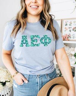 Alpha Epsilon Phi Comfort Colors Lettered Greek Short Sleeve T-Shirt