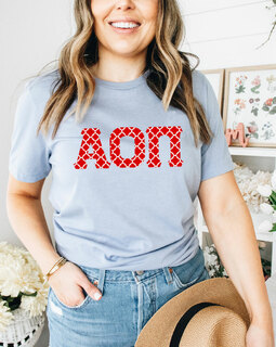 Alpha Omicron Pi Comfort Colors Lettered Greek Short Sleeve T-Shirt