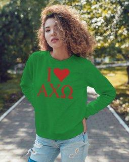 I Love Alpha Chi Omega Crewneck Sweatshirt