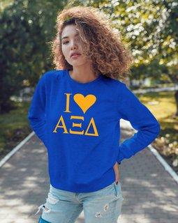 I Love Alpha Xi Delta Crewneck Sweatshirt