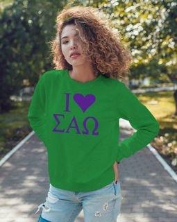 Sigma Alpha Omega I Love Crewneck Sweatshirt