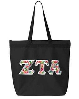 Zeta Tau Alpha Custom Satin Stitch Tote Bag