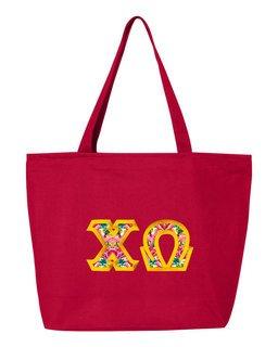$19.99 Chi Omega Custom Satin Stitch Tote Bag