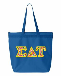 $19.99 Sigma Delta Tau Custom Satin Stitch Tote Bag
