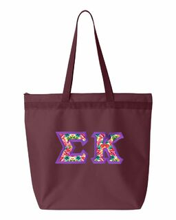 Sigma Kappa Personalized Pink Floral Luggage Tag