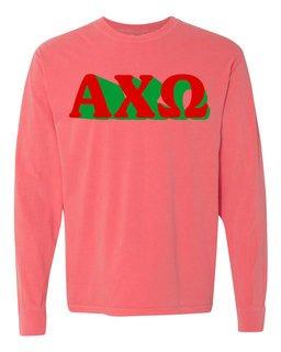 Alpha Chi Omega 3 D Greek Long Sleeve T-Shirt - Comfort Colors