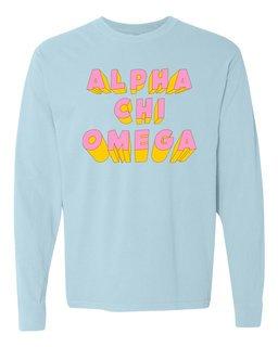 Alpha Chi Omega 3Delightful Long Sleeve T-Shirt - Comfort Colors