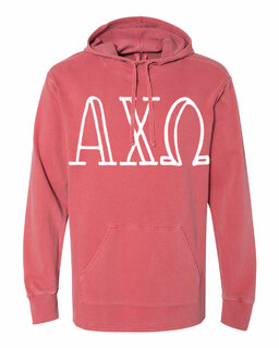 Alpha Chi Omega Comfort Colors - Terry Scuba Neck Greek Hooded Pullover