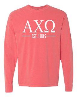 Alpha Chi Omega Custom Greek Lettered Long Sleeve T-Shirt - Comfort Colors