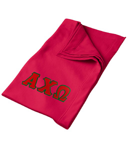 DISCOUNT-Alpha Chi Omega Lettered Twill Sweatshirt Blanket