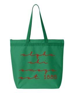 Alpha Chi Omega New Script Established Tote Bag