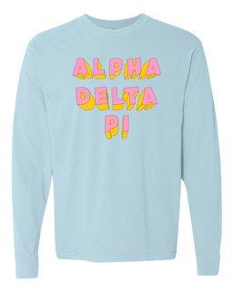 Alpha Delta Pi 3Delightful Long Sleeve T-Shirt - Comfort Colors