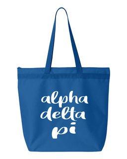 Alpha Delta Pi Script Tote Bag