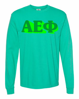 Alpha Epsilon Phi 3 D Greek Long Sleeve T-Shirt - Comfort Colors