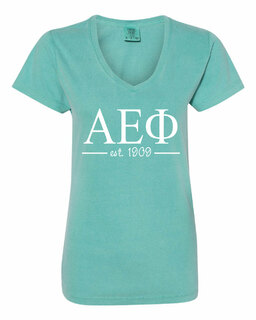 Alpha Epsilon Phi Comfort Colors Custom V-Neck T-Shirt