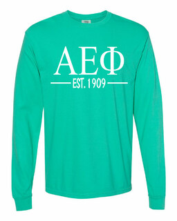 Alpha Epsilon Phi Custom Greek Lettered Long Sleeve T-Shirt - Comfort Colors
