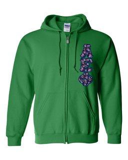 """Alpha Epsilon Phi Lettered Heavy Full-Zip Hooded Sweatshirt (3"""" Letters)"""