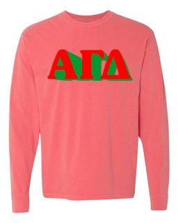 Alpha Gamma Delta 3 D Greek Long Sleeve T-Shirt - Comfort Colors