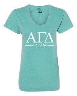 Alpha Gamma Delta Comfort Colors Custom V-Neck T-Shirt