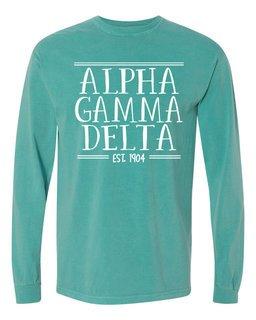 Alpha Gamma Delta Comfort Colors Custom Long Sleeve T-Shirt