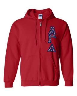 "Alpha Gamma Delta Lettered Heavy Full-Zip Hooded Sweatshirt (3"" Letters)"