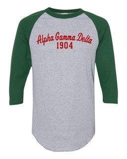 Alpha Gamma Delta Script Established Raglan