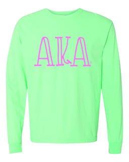 Alpha Kappa Alpha Comfort Colors Greek Long Sleeve T-Shirt