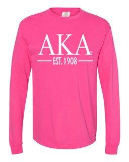Alpha Kappa Alpha Custom Greek Lettered Long Sleeve T-Shirt - Comfort Colors
