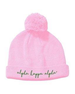 Alpha Kappa Alpha Knit Pom Beanie