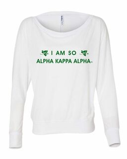 Alpha Kappa Alpha Long-Sleeve Off Shoulder T-Shirt