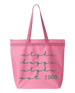 Alpha Kappa Alpha New Script Established Tote Bag