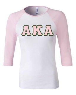 DISCOUNT-Alpha Kappa Alpha T Shirt, Raglan - Applique