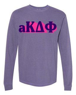 alpha Kappa Delta Phi 3 D Greek Long Sleeve T-Shirt - Comfort Colors