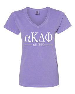 alpha Kappa Delta Phi Comfort Colors Custom V-Neck T-Shirt
