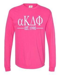 alpha Kappa Delta Phi Custom Greek Lettered Long Sleeve T-Shirt - Comfort Colors