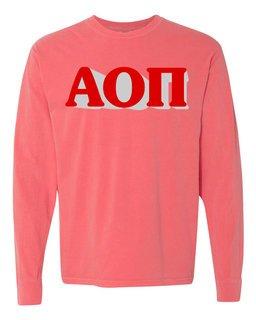 Alpha Omicron Pi 3 D Greek Long Sleeve T-Shirt - Comfort Colors