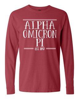 Alpha Omicron Pi Comfort Colors Custom Long Sleeve T-Shirt