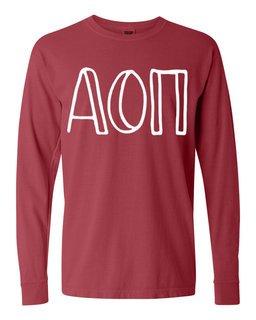 Alpha Omicron Pi Comfort Colors Greek Long Sleeve T-Shirt