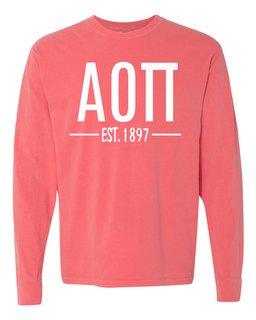 Alpha Omicron Pi Custom Greek Lettered Long Sleeve T-Shirt - Comfort Colors
