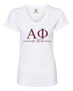 Alpha Phi Comfort Colors Custom V-Neck T-Shirt