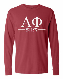 Alpha Phi Custom Greek Lettered Long Sleeve T-Shirt - Comfort Colors