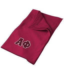 DISCOUNT-Alpha Phi Lettered Twill Sweatshirt Blanket