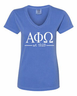 Alpha Phi Omega Comfort Colors Custom V-Neck T-Shirt