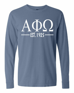 Alpha Phi Omega Custom Greek Lettered Long Sleeve T-Shirt - Comfort Colors