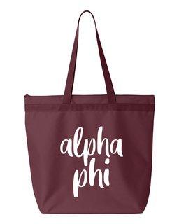 Alpha Phi Script Tote Bag
