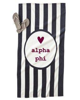 Alpha Phi Striped Beach Towel